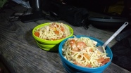Dinner was spaghetti with garlic, tomatoes and salmon