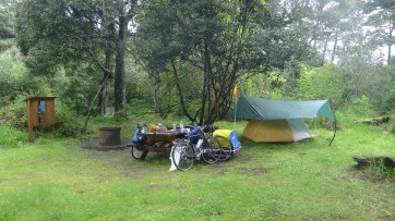 MacKerricher campsite setup to protect us from the heavy overnight rain