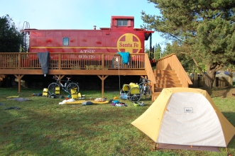 We camped under a caboose at the KOA