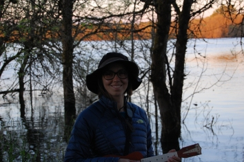 Playing the uke at sunset